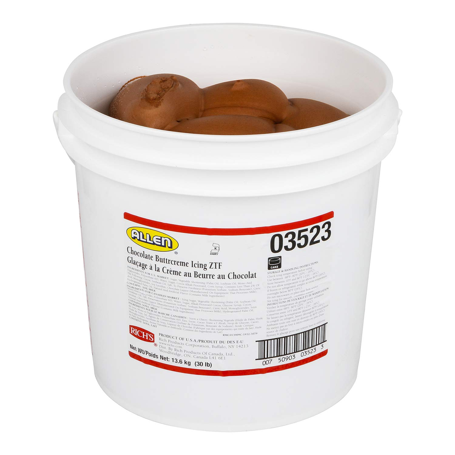 Rich's JW Allen Pre-Whipped Chocolate Buttrcreme Icing ZTF, 30 lb by Rich's (Image #3)