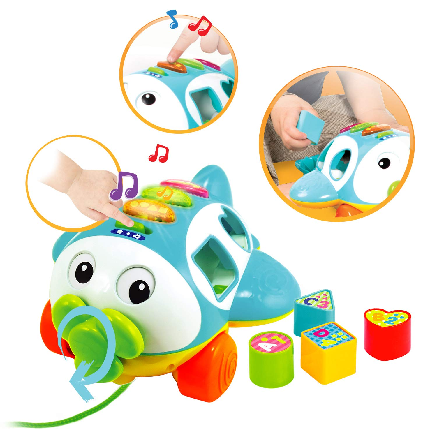 Talking Airplane Toy Music Block Sorting Activities Fine Motor Skills Toys for Toddler Playtime Ages 12 Months+ KiddoLab Musical Shape Sorter Plane Pull-Along Toy
