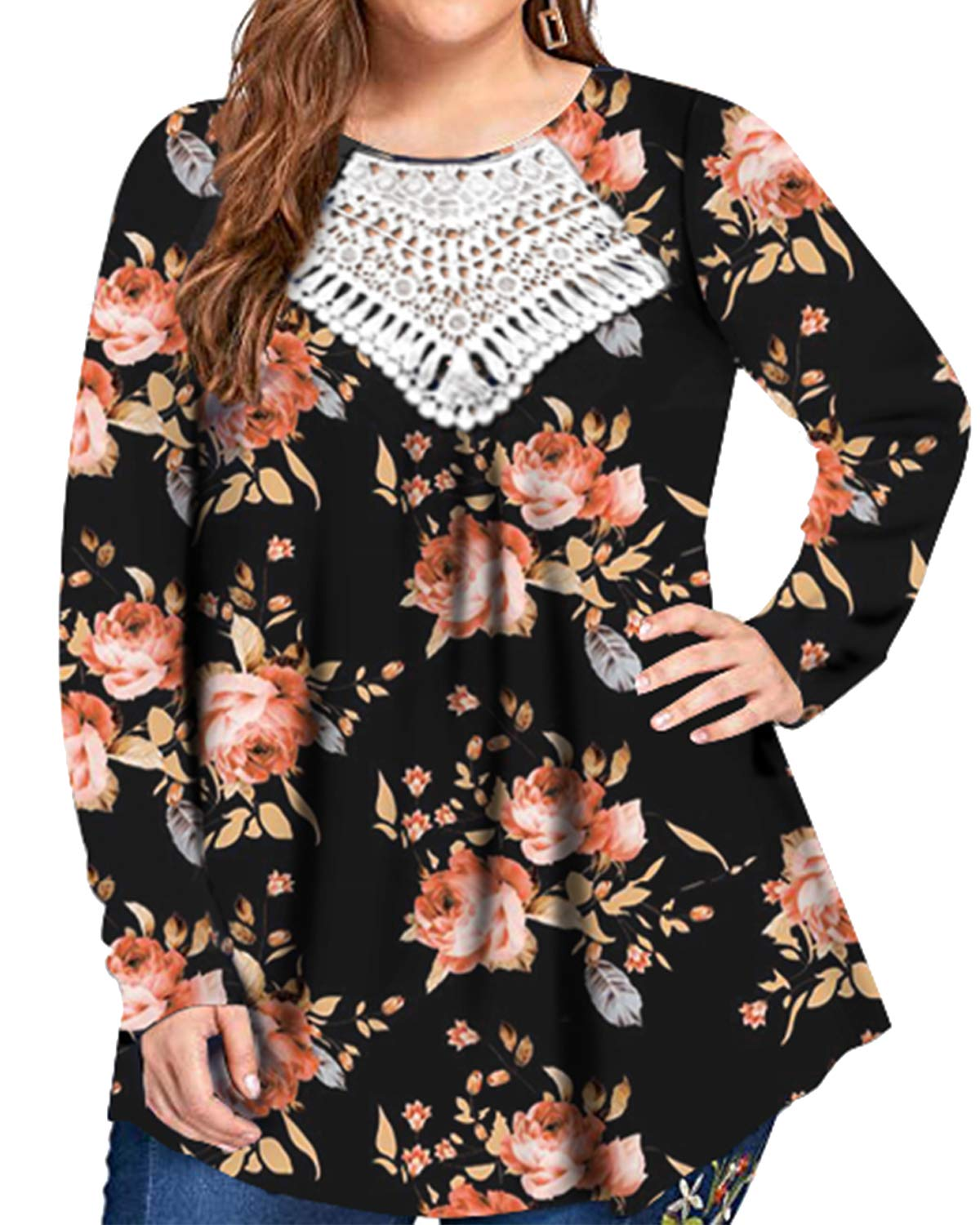 Promaska Lace Blouses for Women Fashion 2019, Ladies Long Sleeve Hollow Out V Neck Shirts Flowy Hem Pleated Front Cotton Knit Tops Floral Black 4XL
