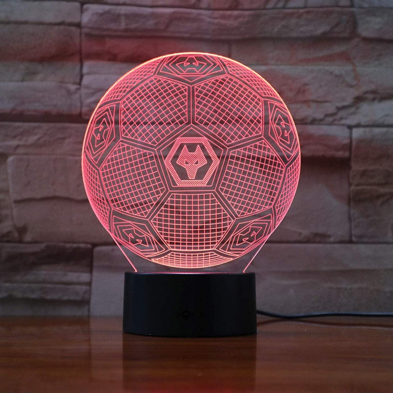 3D Night Light Night Lights Fc Wolves 3D Illusion Led Boys Kids Baby Gifts Soccer Premier League Football Team Table Lamp Bedside Decoration WGWNYN
