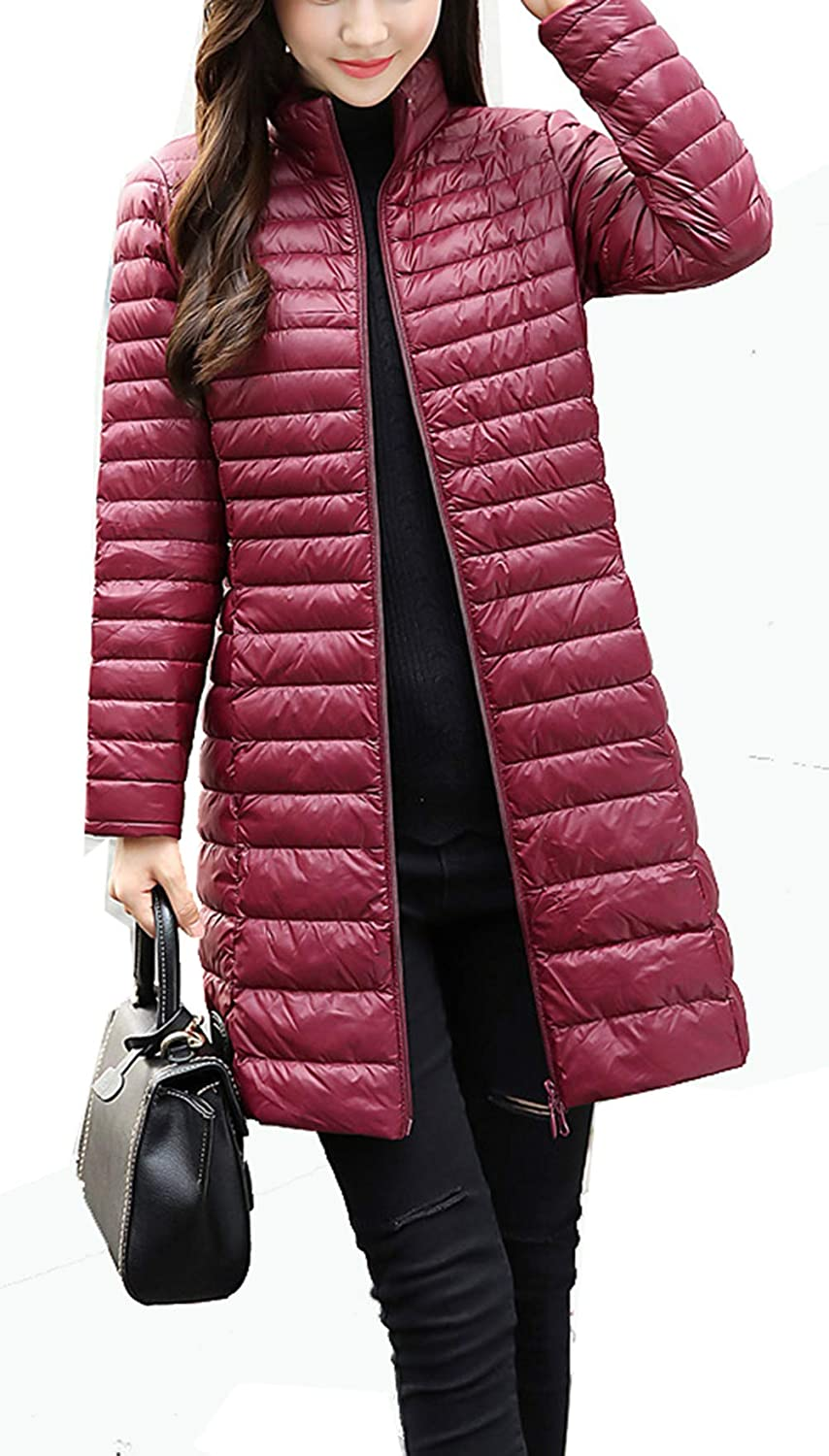 Wine Red RESPEEDIME Women's Down Coat Long Fall and Winter Stand Collar Slim Warm Jacket
