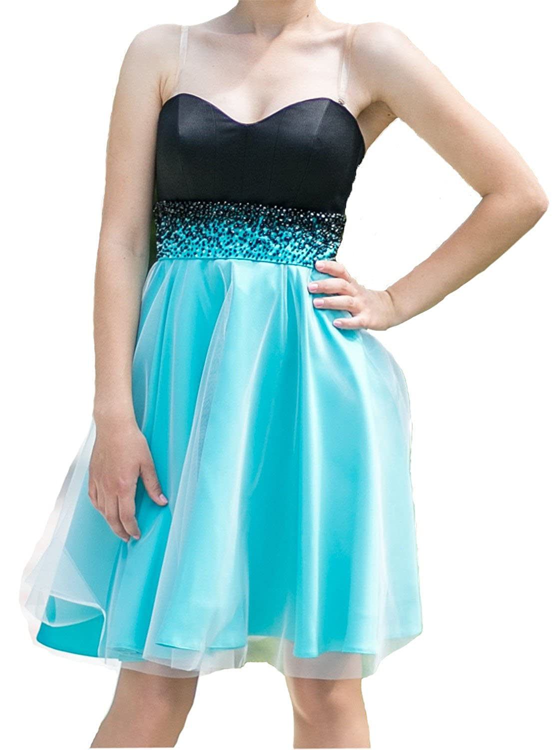 LM Women's Short Strapless Black And Blue Prom Party Homecoming Dresses LM089