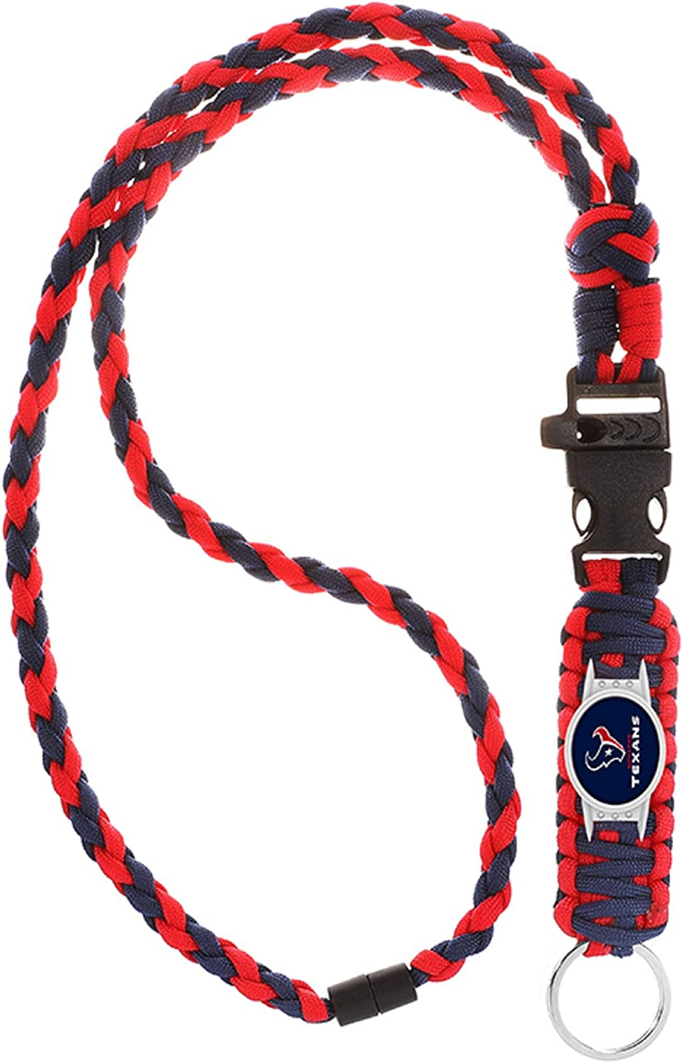 Neck Clasp and Keychain Release Swamp Fox Houston Texans Paracord Lanyard with Team Charm