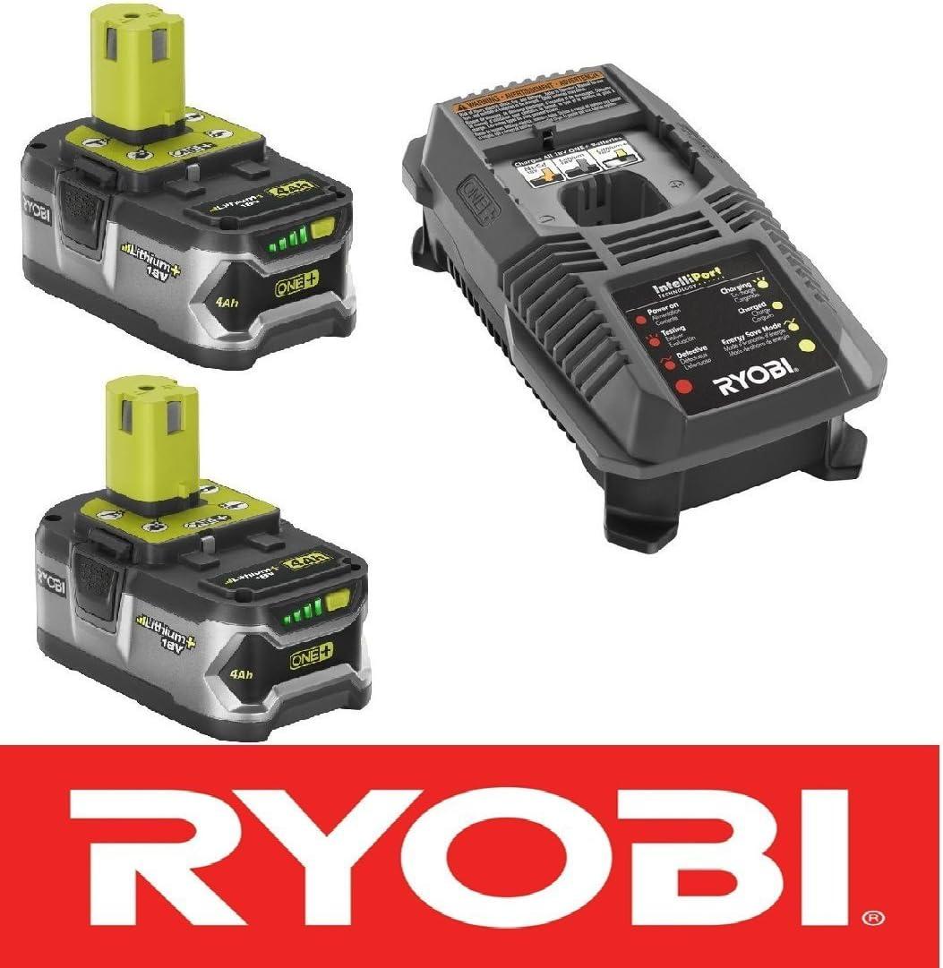 (2) Ryobi 18 Volt High Capacity 4.0 Fat Pack Batteries P108 + Charger P118 Kit (Renewed)