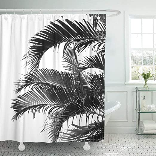 Fabric Bathroom Decor Set With Hooks 70 Inches Black Palm Tree Silhouette Exotic Plant On Dark Thema Foliages Relax In Nature Image Ambesonne Palm Tree Decor Shower Curtain Shower Curtain Sets