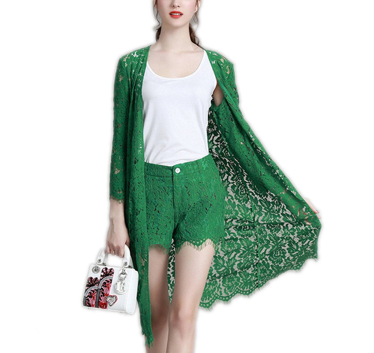 Weing Lace Suit Women Short Sets 3 Piece Set Women Cardigan+Camisoles+Shorts Suits Green XL by Weing