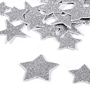 6 Pack Foam Glitter Letter Stickers Planner Stickers Silver Foam stars stickers Cute Photo Stickers Laptop Stickers Easy Peel-Off Stickers for DIY Arts and Crafts,Daily Planner,Scrapbooks(Silver Star)