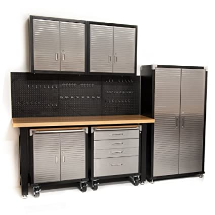 Garage Storage System >> Seville Classics Hd 7 Piece Standard Garage Storage System Timber Workbench Steel Upright Cabinet And Overhead Hanging Wall Cabinets