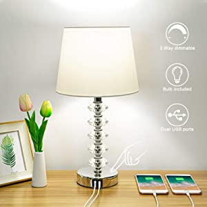 Touch Control Crystal Table Lamp with 2 USB Ports, Boncoo 3 Way Dimmable USB Bedside Lamp Nightstand Lamp Decorative Table Lamp with White Shade for Bedroom Living Room Office, A19 LED Bulb Included