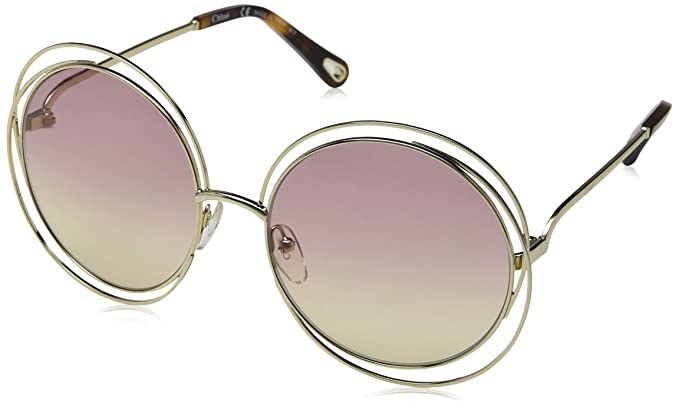 012f0abbbd2a1 Image Unavailable. Image not available for. Colour  Chloe CE114SD 702 Gold Grad  Rose Carlina Round Sunglasses ...