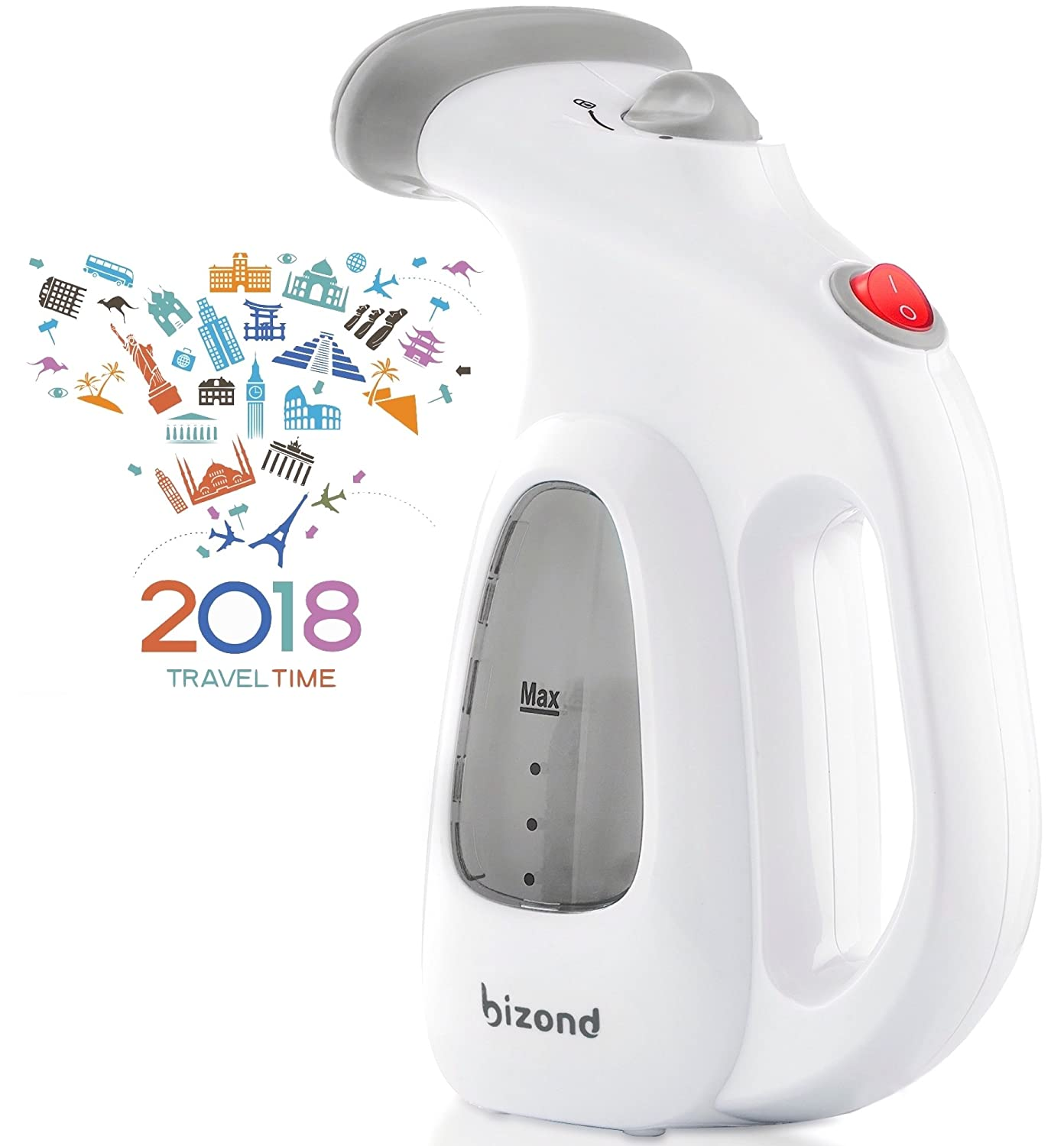Bizond Portable Garment Steamer For Clothes, Handheld   Home And Travel Accessories   Compact Mini Steamer Clothing, Fabric, Draperies, Shirt   Safe And Little Handy, Anti Spill Steamer Iron   (Gray) by Bizond