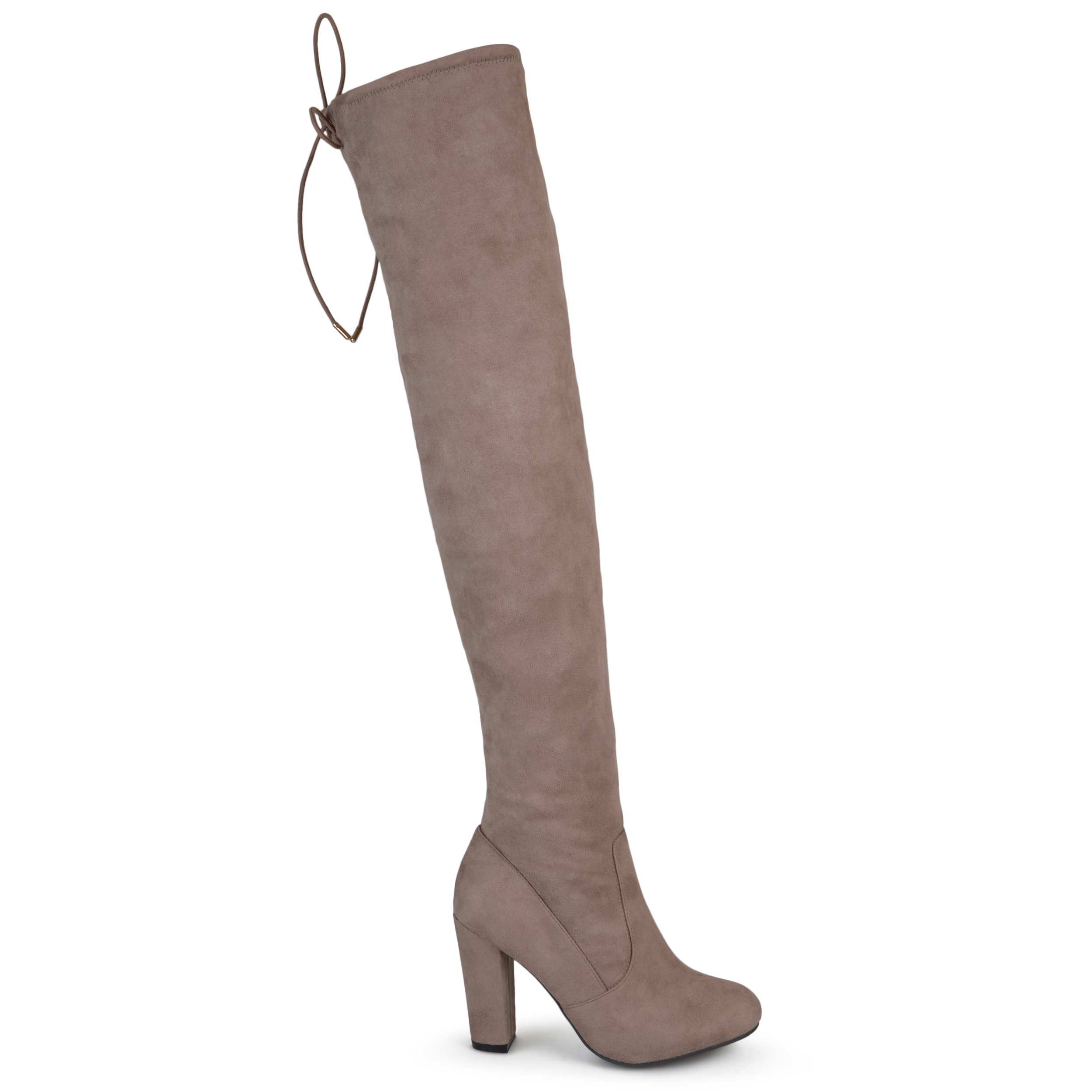 Brinley Co Women's Milan Over The Knee Boot, Taupe, 8.5 Wide/Wide Shaft US