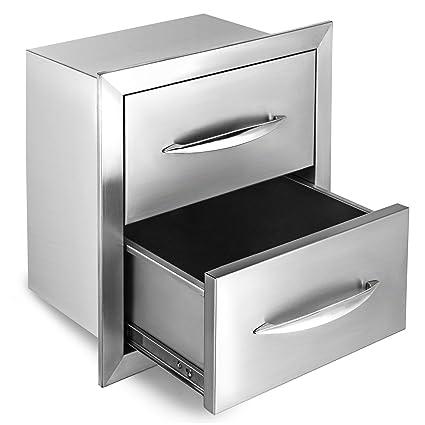 outdoor kitchen drawers wood frame happybuy outdoor kitchen drawer 18quotx15quot stainless steel bbq island drawer storage with chrome amazoncom 18