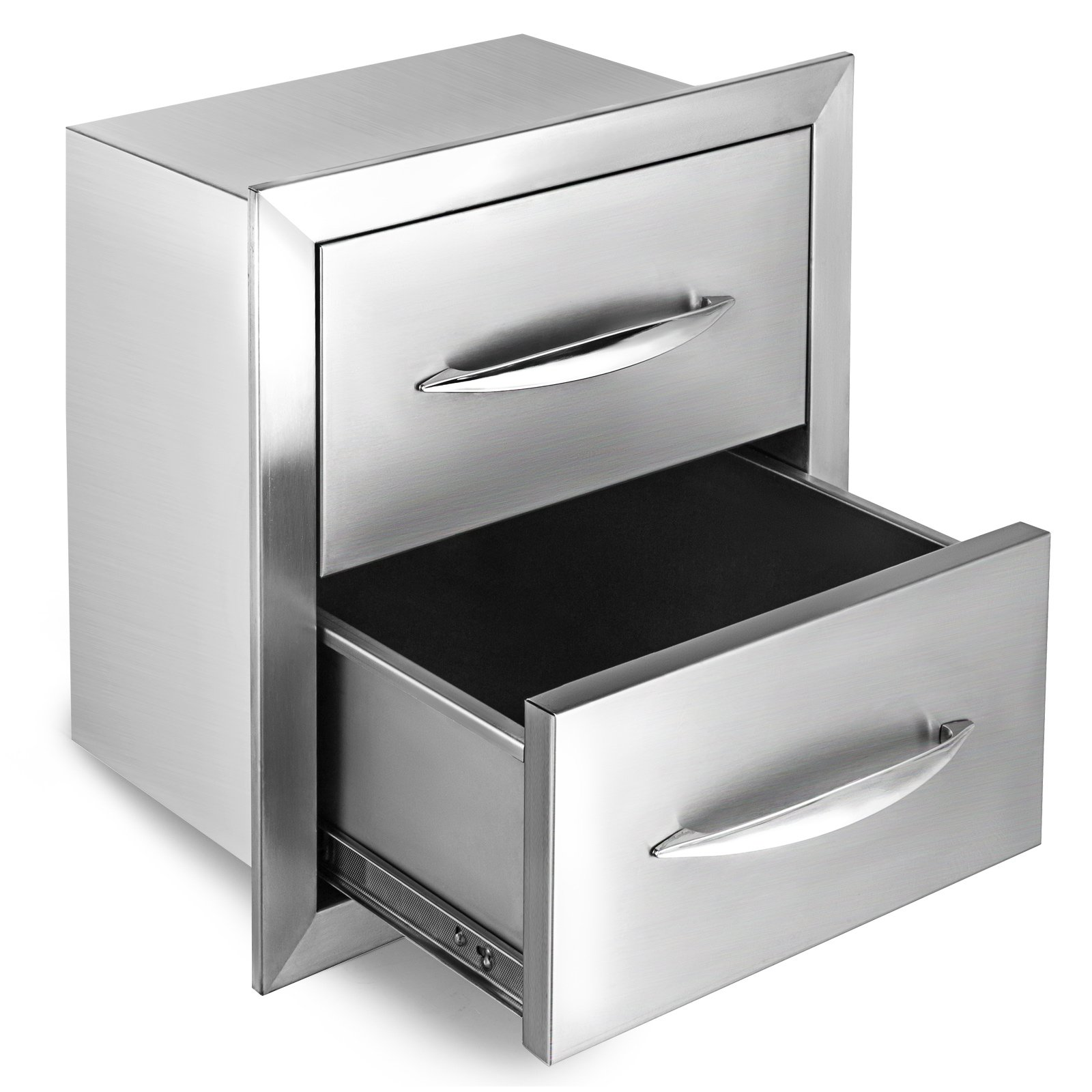 Happybuy Outdoor Kitchen Drawer 18''x15'' Stainless Steel BBQ Island Drawer Storage with Chrome Handle Double Access Drawer Flush Mount Sliver Double Access Drawer (Outdoor Kitchen Drawer 18''x15'')
