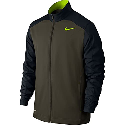 fd98824d6d23 New Nike Men s Team Woven Training Jacket Cargo Khaki Black Volt Volt Small