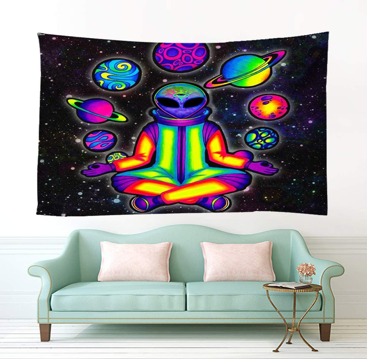 Bit Better Alien Decor Tapestry-Cool Psychedelic Alien Stuff Wall Art for Home Wall Hanging - Alien Wall Tapestry for Bedroom Room Decor (51 59 in-130 150cm)