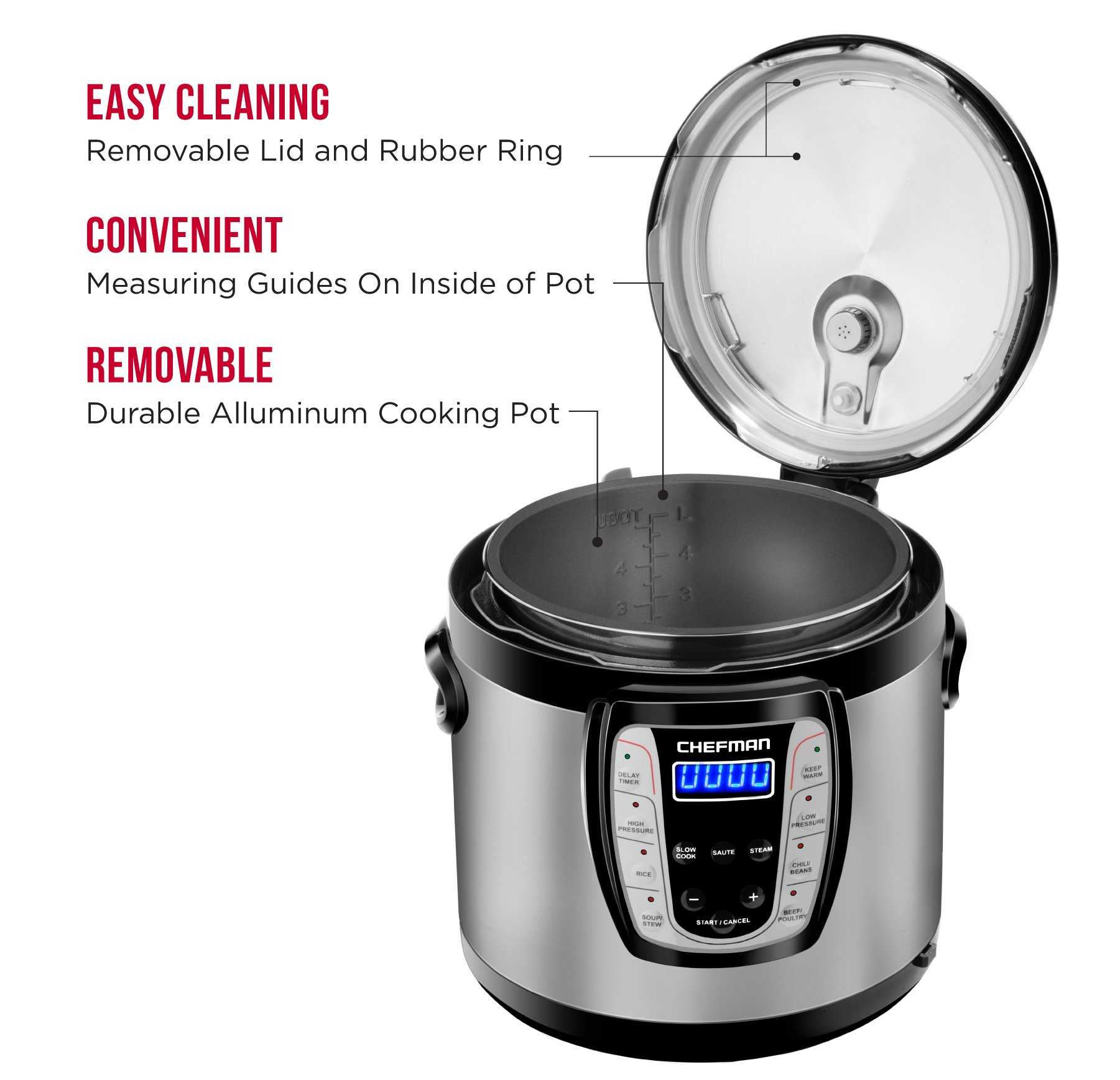 Chefman 6 Qt. Electric Multicooker, 9-in-1 Programmable Pressure Cooker, Prepare Dishes in an Instant, Aluminum Pot Multifunctional Slow Cooker, Rice Cooker/Steamer, Sauté, Yogurt, Soup Maker by Chefman (Image #4)