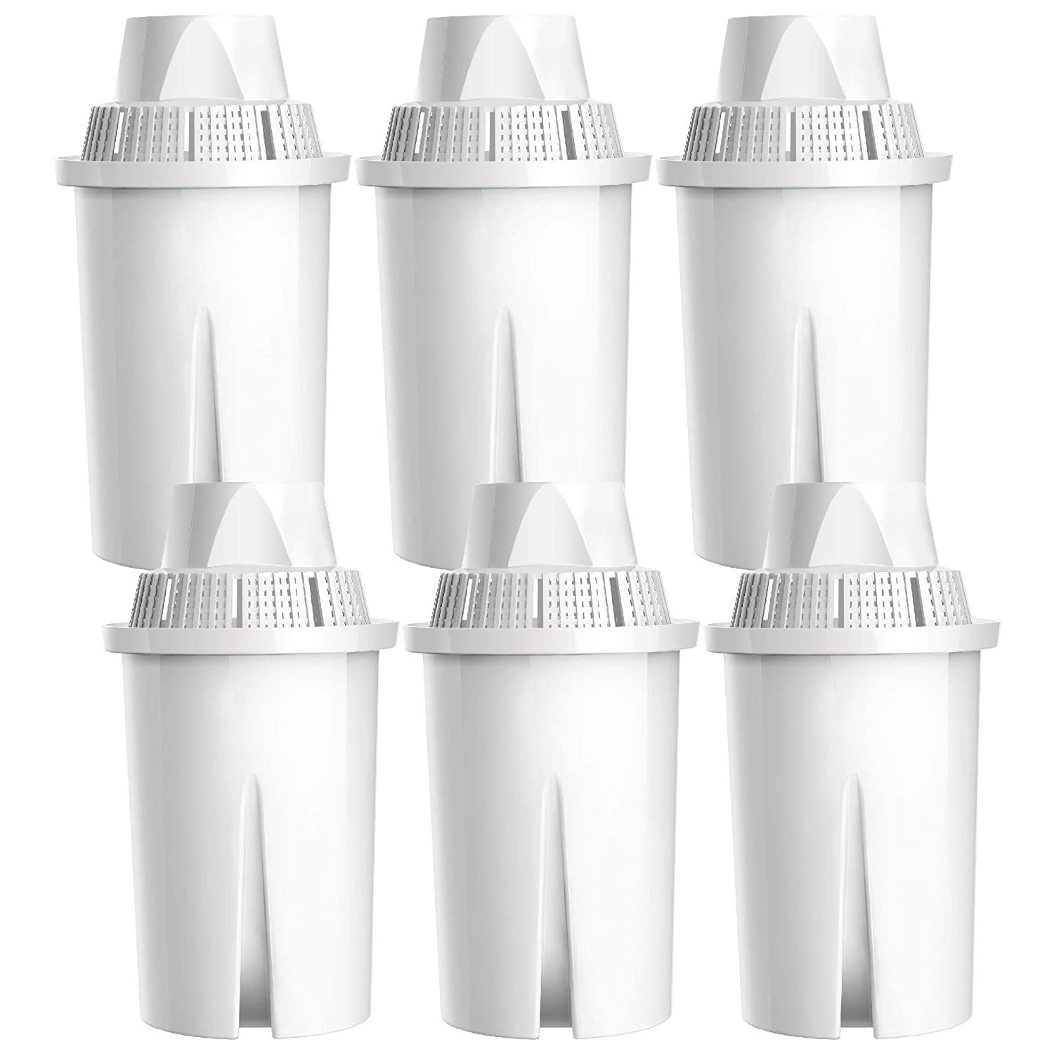 AQUA CREST TÜV SÜD Certified Pitcher Water Filter, Fits Brita Classic 35557, OB03, Mavea 107007, Compatible with Brita Pitchers Grand, Lake, Capri and More, Lead Removal (Pack of 6)