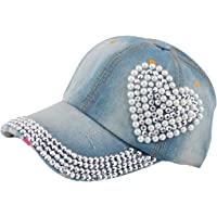 SHOPBIBLES Mujeres Loving corazón Bling Rhinestone Jeans Deporte