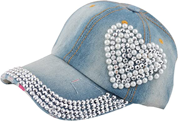 2 NEW BLUE DENIM CAPS HATS FOR DOLLS PINK HEART MY TWINN
