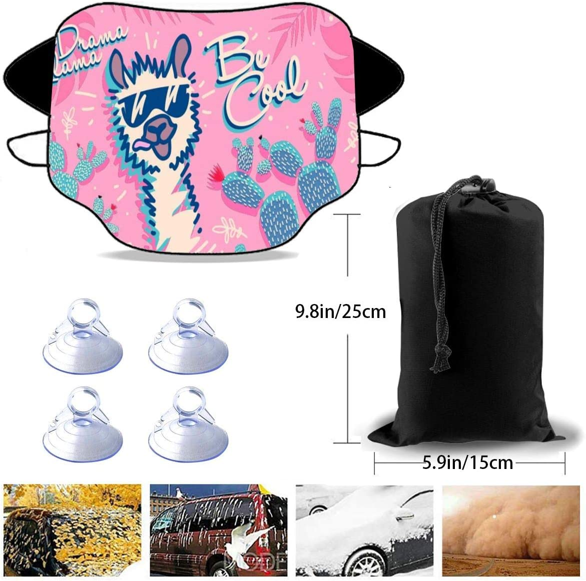 Mattrey No Drama Llama Be Cool Car Windshield Sun Shade Cover Front Water Sunlight Snow Cover