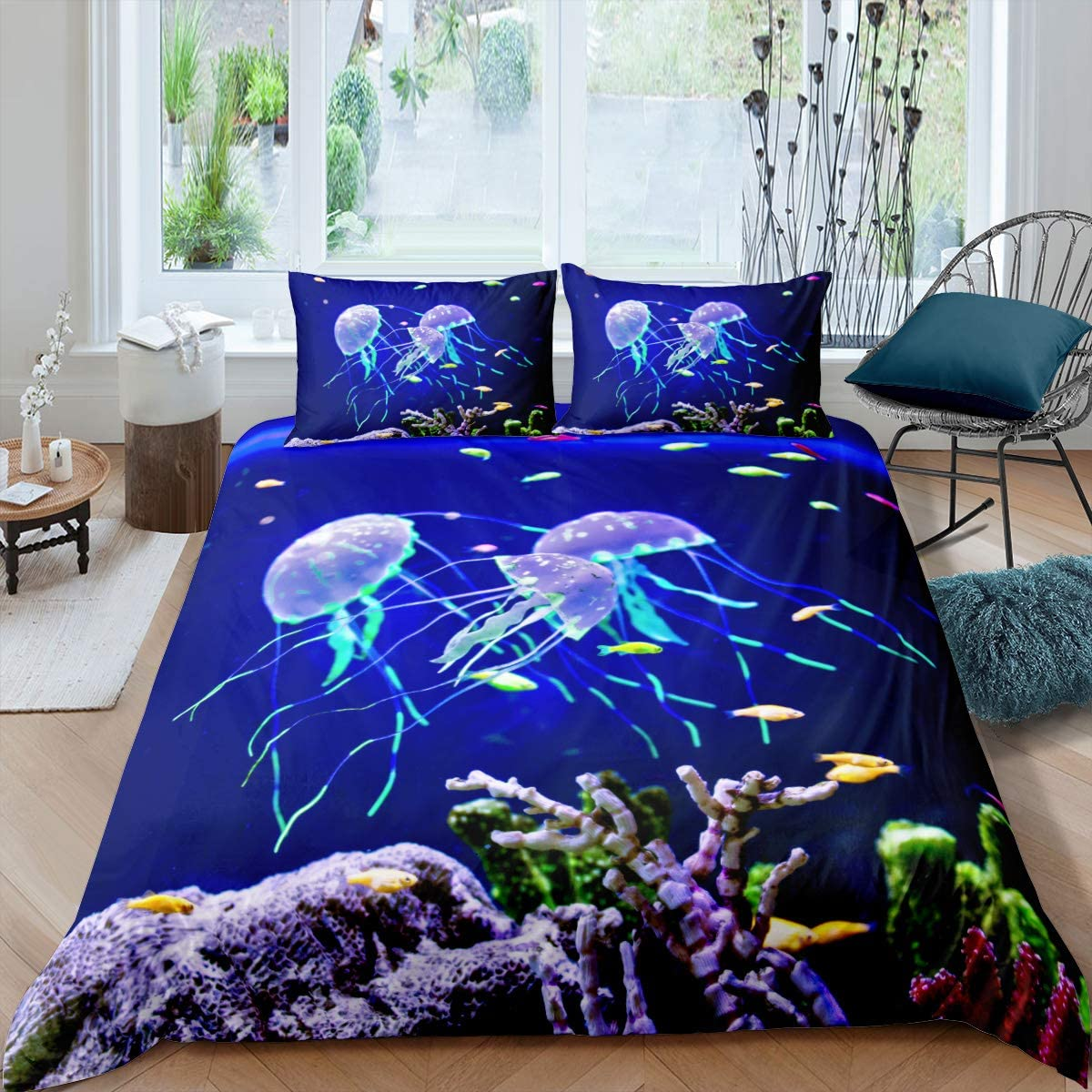 Erosebridal 3D Jellyfish Bedding Set 3 Piece Queen Size Jellyfish Printed Duvet Cover Soft Breathable Comforter Cover for Adult Teens Kids Boys Ocean Theme Bedspread Sea Coral Pattern Decor Quilt Set