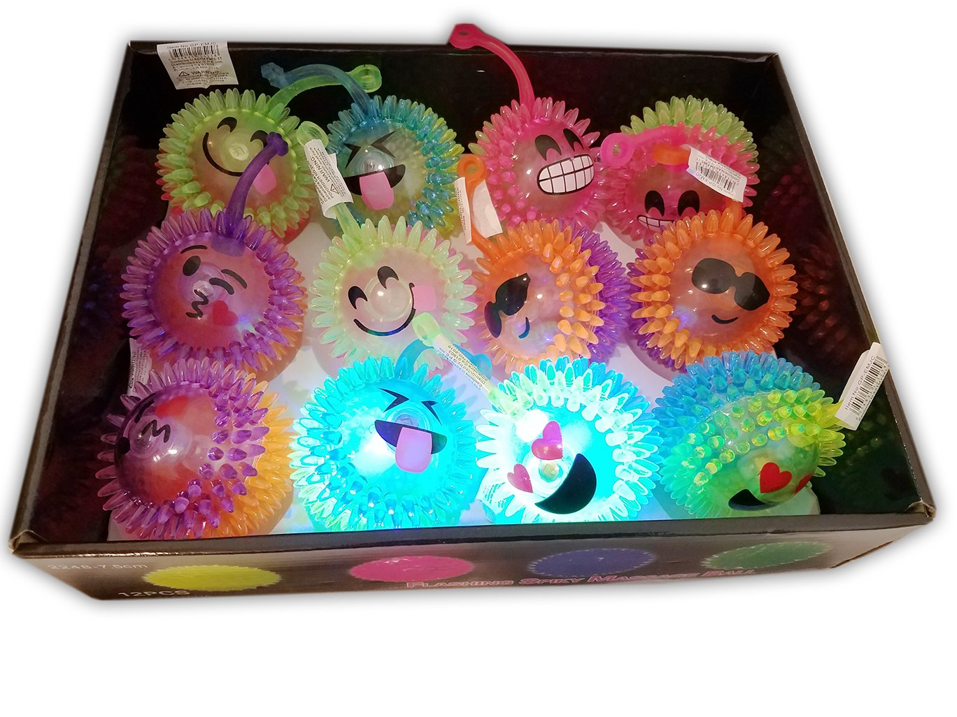 Emoji / Spiky Massage Light Up LED Flashing Rubber 3'' Balls for Kids Party Favors, Goodie bags / giveaways, 12-Pack