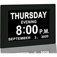 """Digital Calendar Alarm Day Clock - with 8"""" Screen Display, am pm, 5 Alarm, for Extra Impaired Vision People, The Aged…"""
