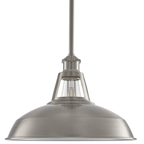 Olivera 12 Inch Pendant Light Brushed Nickel Pendant Lighting For Kitchen Island With Led Bulb Ll P855 1bn