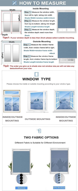 20W x 48H Inches White Cordless Energy Saving UV Protection Noice Reduce Custom Made Honeycomb Window Blinds SUAKY Blackout Cellular Window Shades