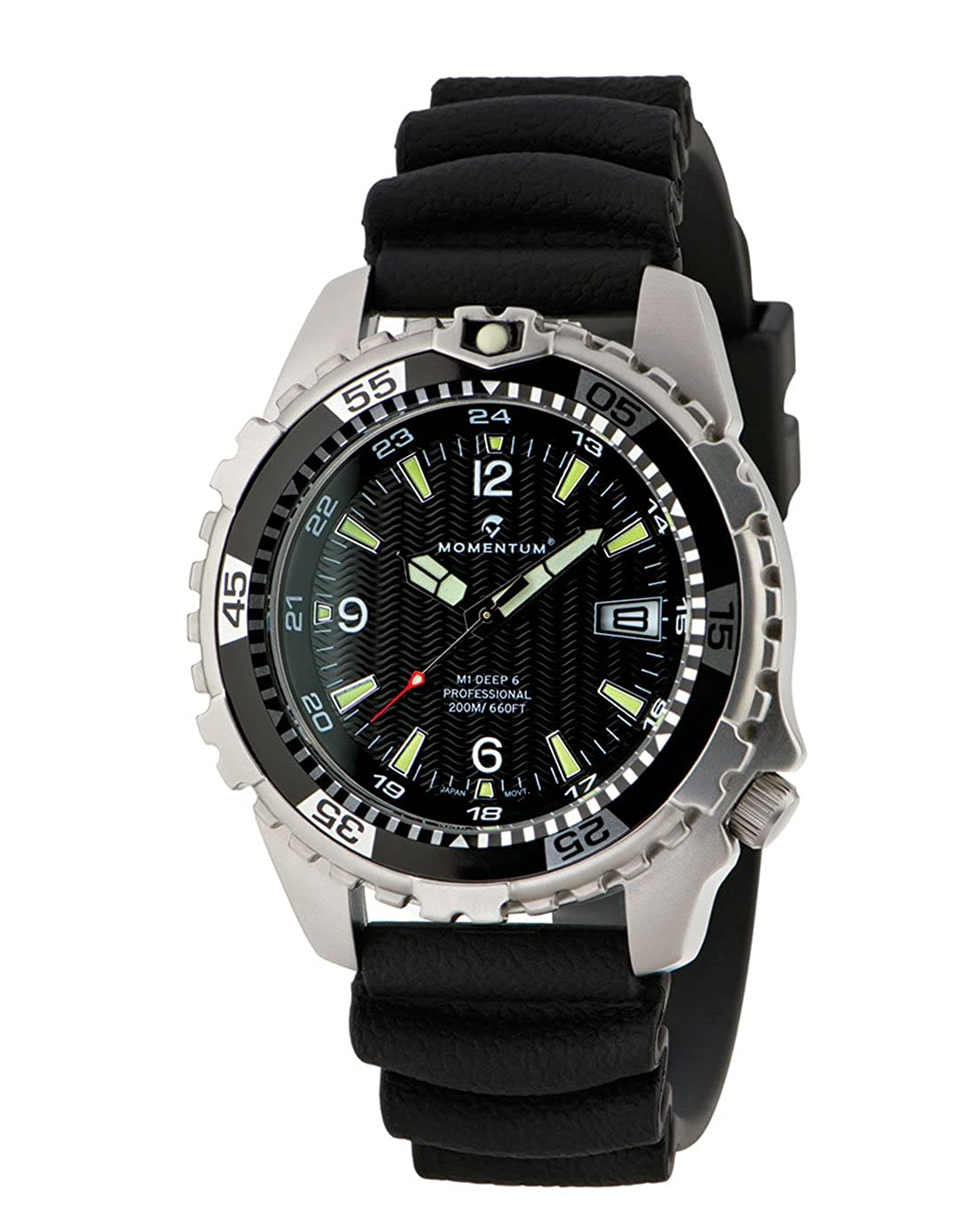 Deep Six Sapphire - Reloj de buceo profesional de Momentum Watches, color negro, 1M-DV06BS1B, para hombre, 200 m, resistente al agua, acero inoxidable 316L, ...