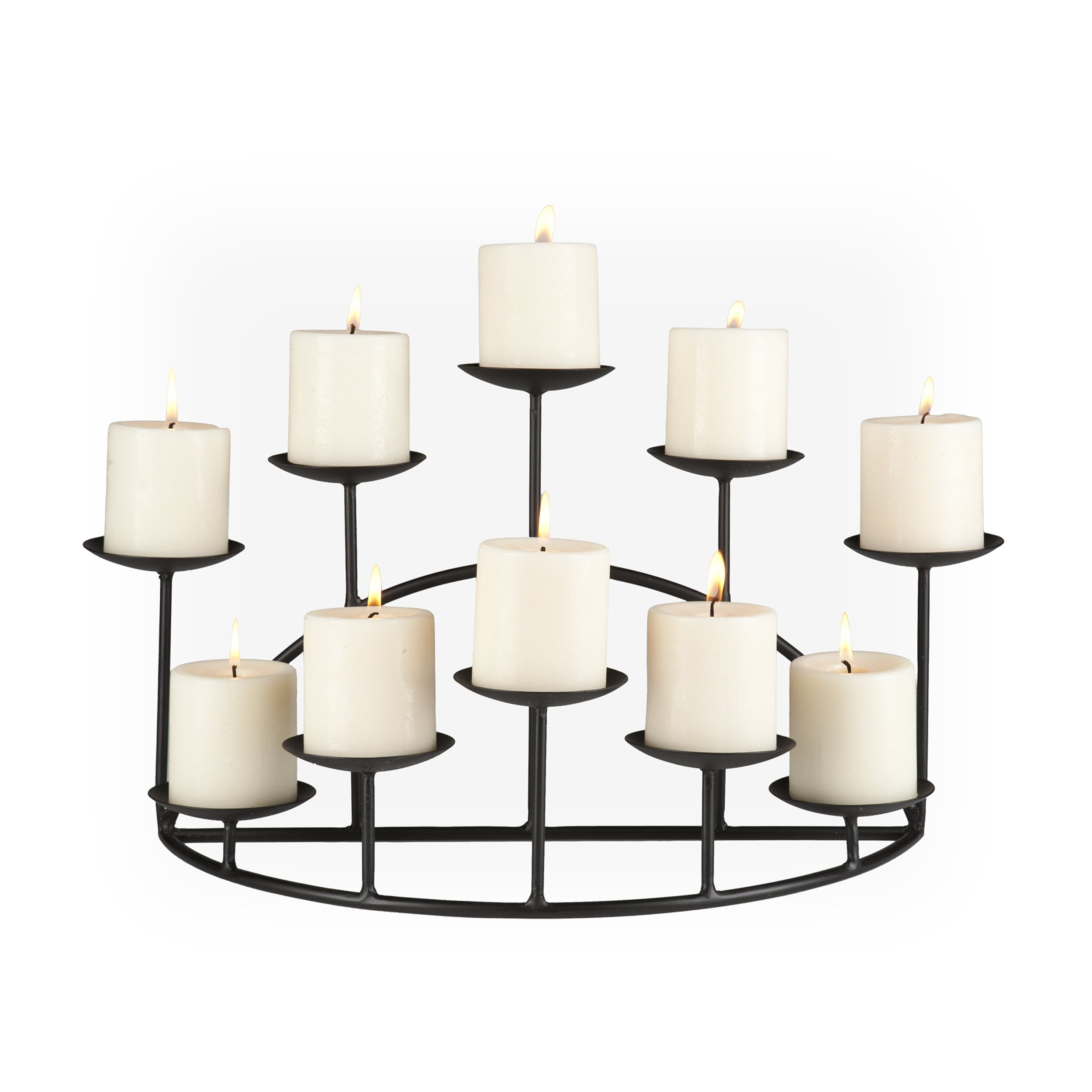Candelabra 10 Candle Holder Centerpiece Metal Black Vintage