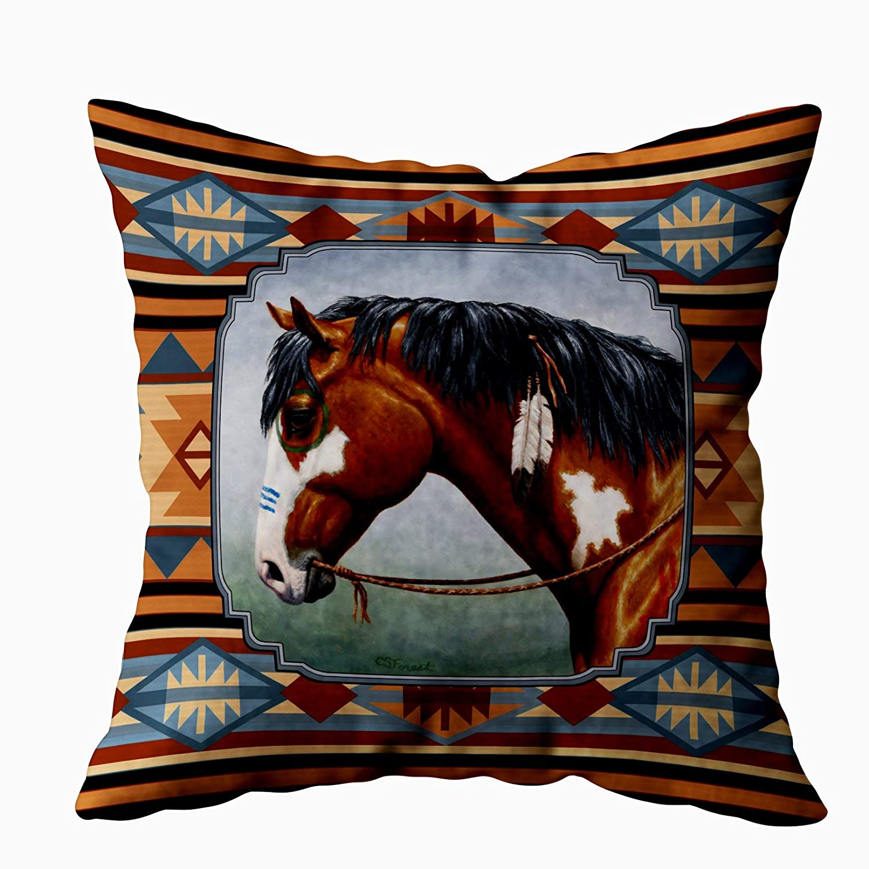 Capsceoll 2PCS bay pinto war horse southwestern design Decorative Throw Pillow Case 18X18Inch,Home Decoration Pillowcase Zippered Pillow Covers ...