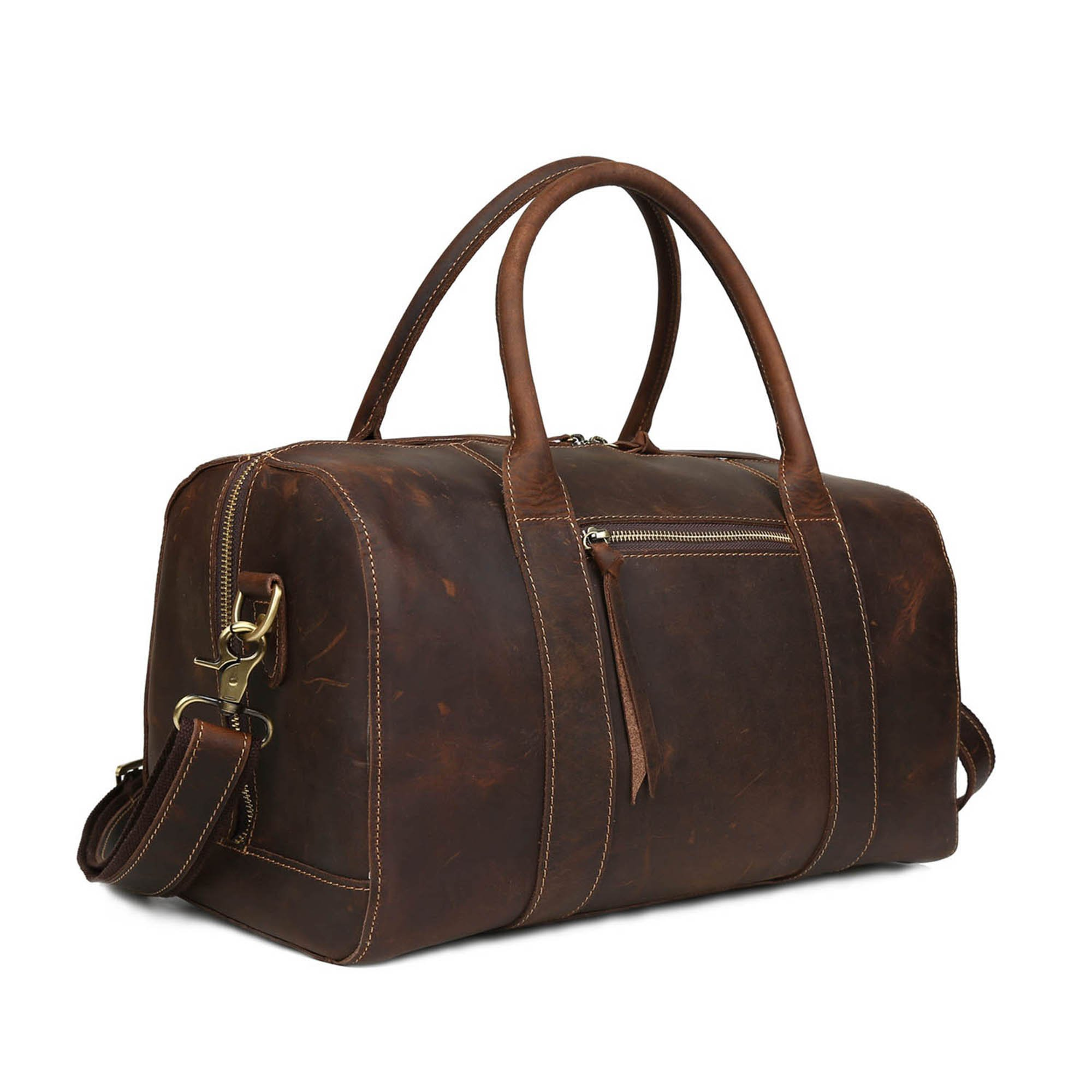 BAIGIO Women's Leather Travel Duffel Overnight/Weekend Bag Tote Duffle Luggage (Dark Brown)