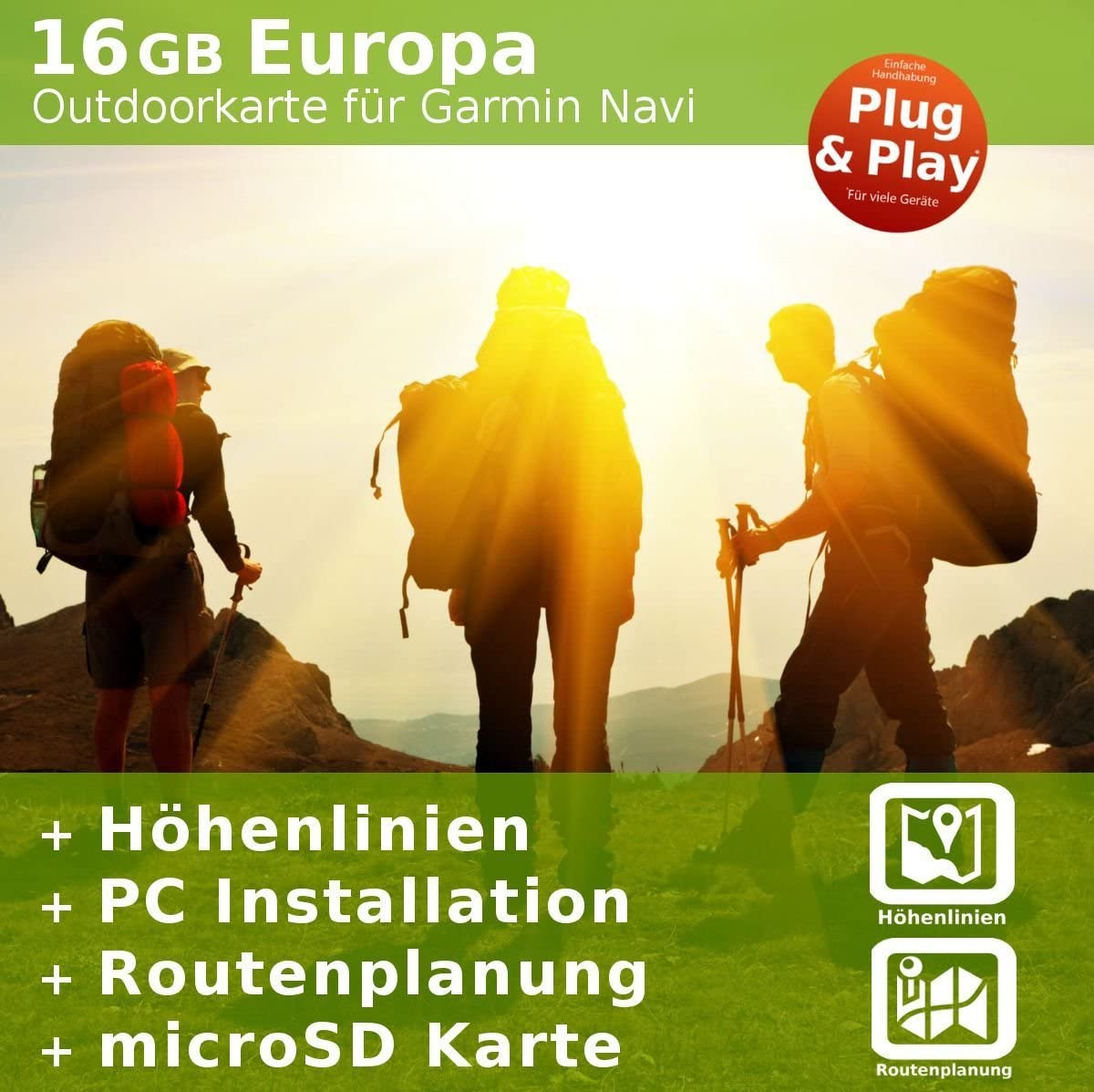 Europa Outdoor tarjeta compatible con Garmin Navegación–para senderismo, geocachen, montañismo, Ciclismo, ciclismo tour