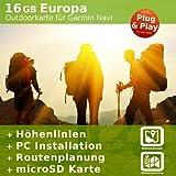 Europa Outdoor Karte kompatibel zu Garmin Navigation - Zum Wandern, Geocachen, Bergsteigen, Radfahren, Radtour