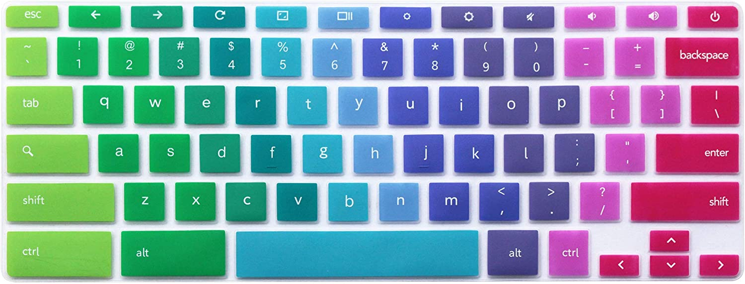 Silicone Keyboard Cover Skin Compatible for 11.6 inch Samsung Chromebook 3 XE500C13 XE501C13, 11.6 inch Samsung Chromebook 2 XE500C12, 12.2 inch Samsung Chromebook Plus V2 2-in-1 XE520QAB (Rainbow)