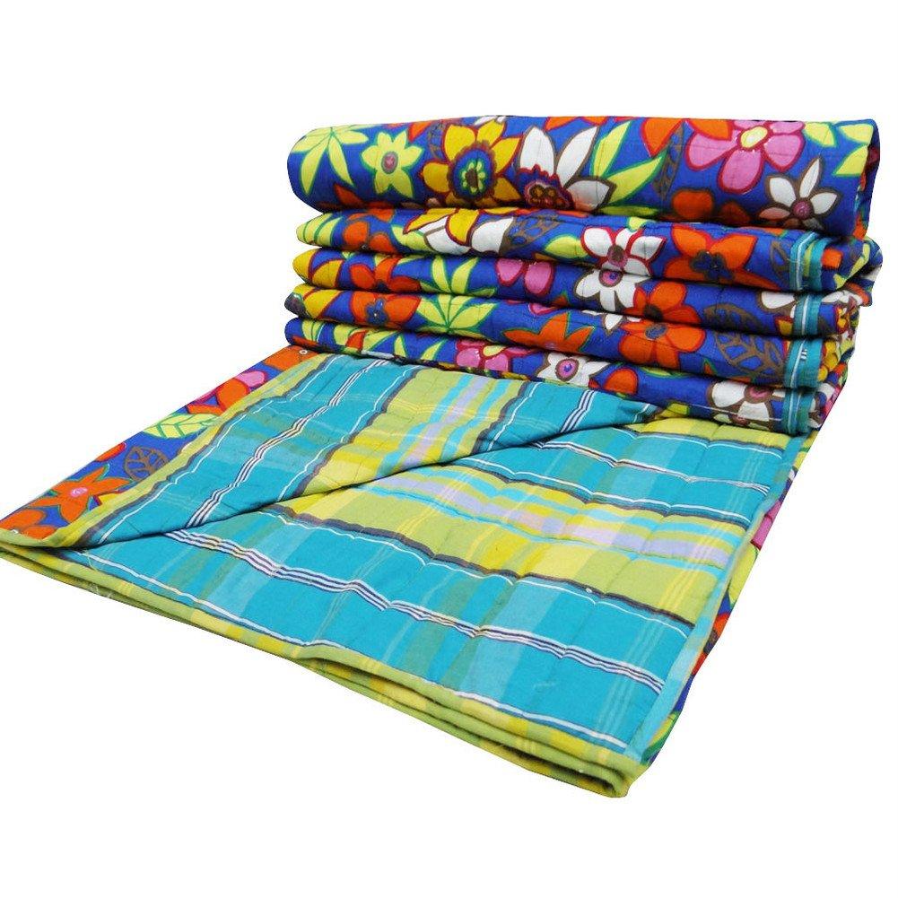 Decorative Blue Queen Size Quilt Floral Pattern Home Décor Cotton Reversible Bedspread