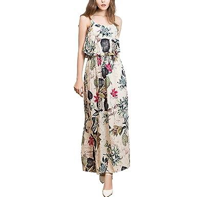 642d92fb Inshine Women Casual Strappy Flora-Printed Sundress Beach Maxi Dresses:  Amazon.co.uk: Clothing