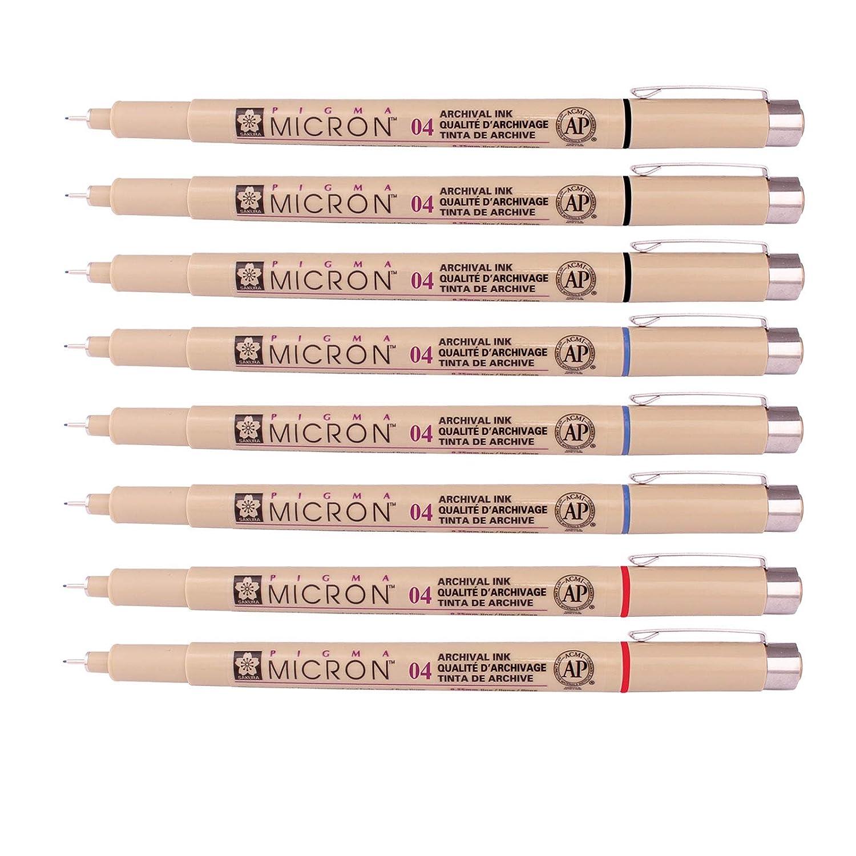 Assorted 8 Pens Set Sakura Pigma Micron Fine Line Pen High Light and Soft Head Pen Manga Drawing Sepia, 01-8 Pens