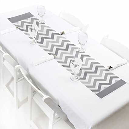 Bridal Shower or Birthday Party Paper Table Runner Petite Baby 12 x 60 Big Dot of Happiness Chevron Gray