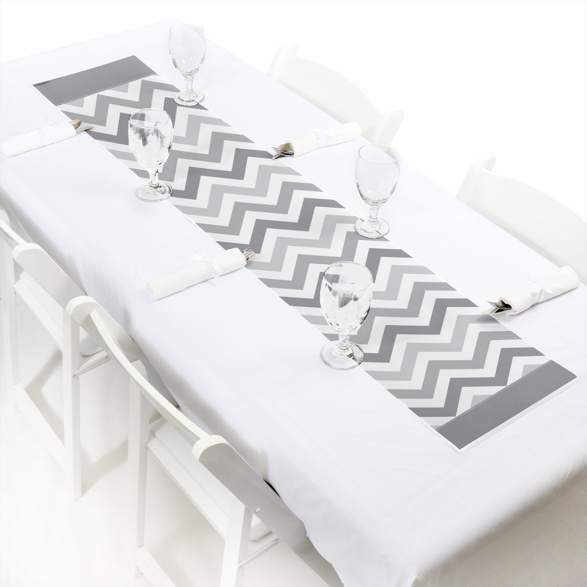 Big Dot of Happiness Chevron Gray - Petite Baby, Bridal Shower or Birthday Party Paper Table Runner - 12 x 60 inches