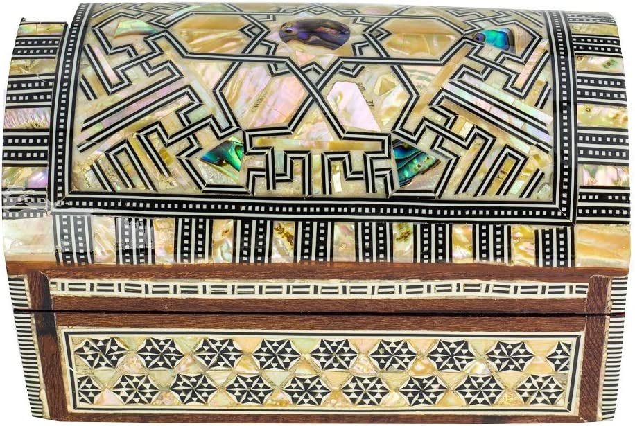 Arts & Crafts of Egypt- Egyptian Mosaic Jewelry Trinket Box - Inlaid Mother of Pearl Jewelry Collectibles Coins Gift Trinket Box 6
