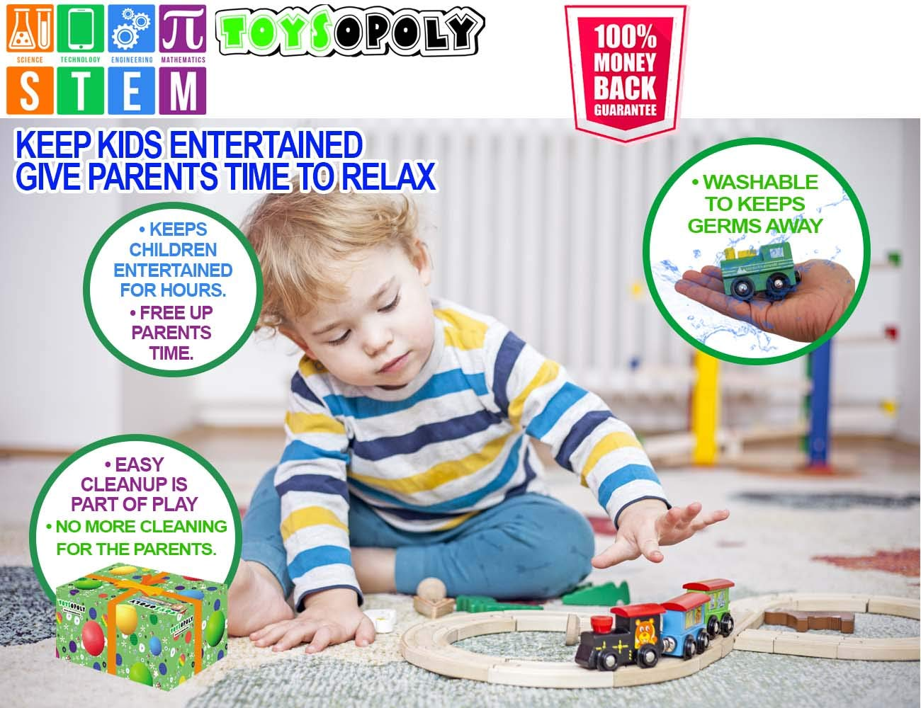 Best Gifts for Kids Toddler Boys and Girls ToysOpoly Imaginarium Chuggington Brio Wooden Train Tracks Full Set Deluxe 55 Pcs with 3 Destination Fits Thomas Melissa and Doug IKEA