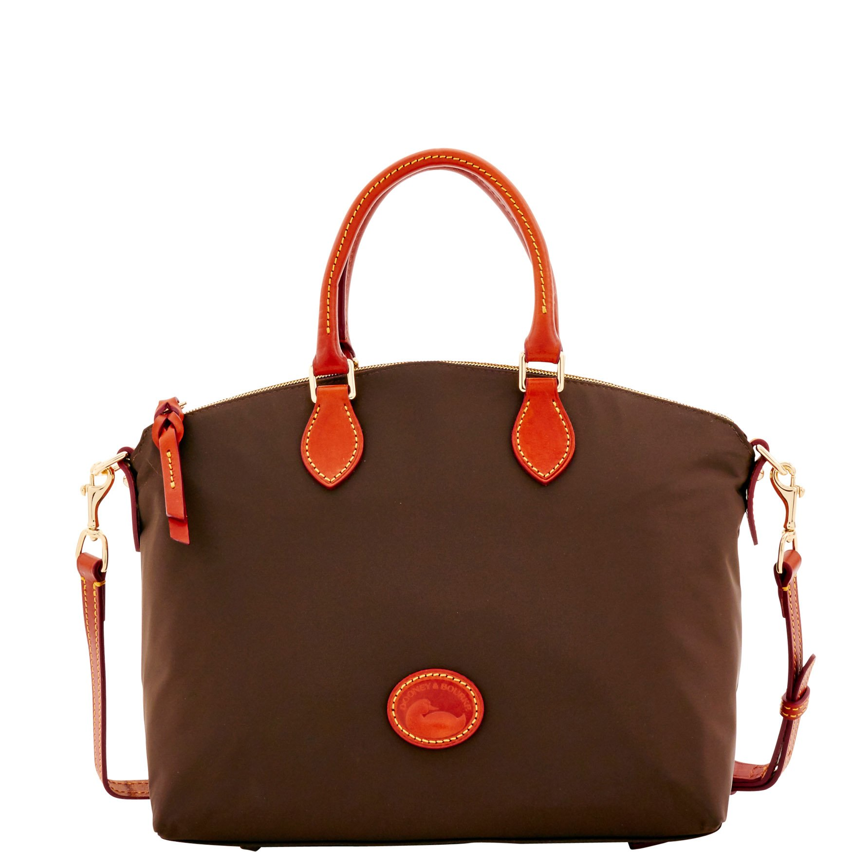 Dooney & Bourke Nylon Satchel Brown T' Moro Leather Trim
