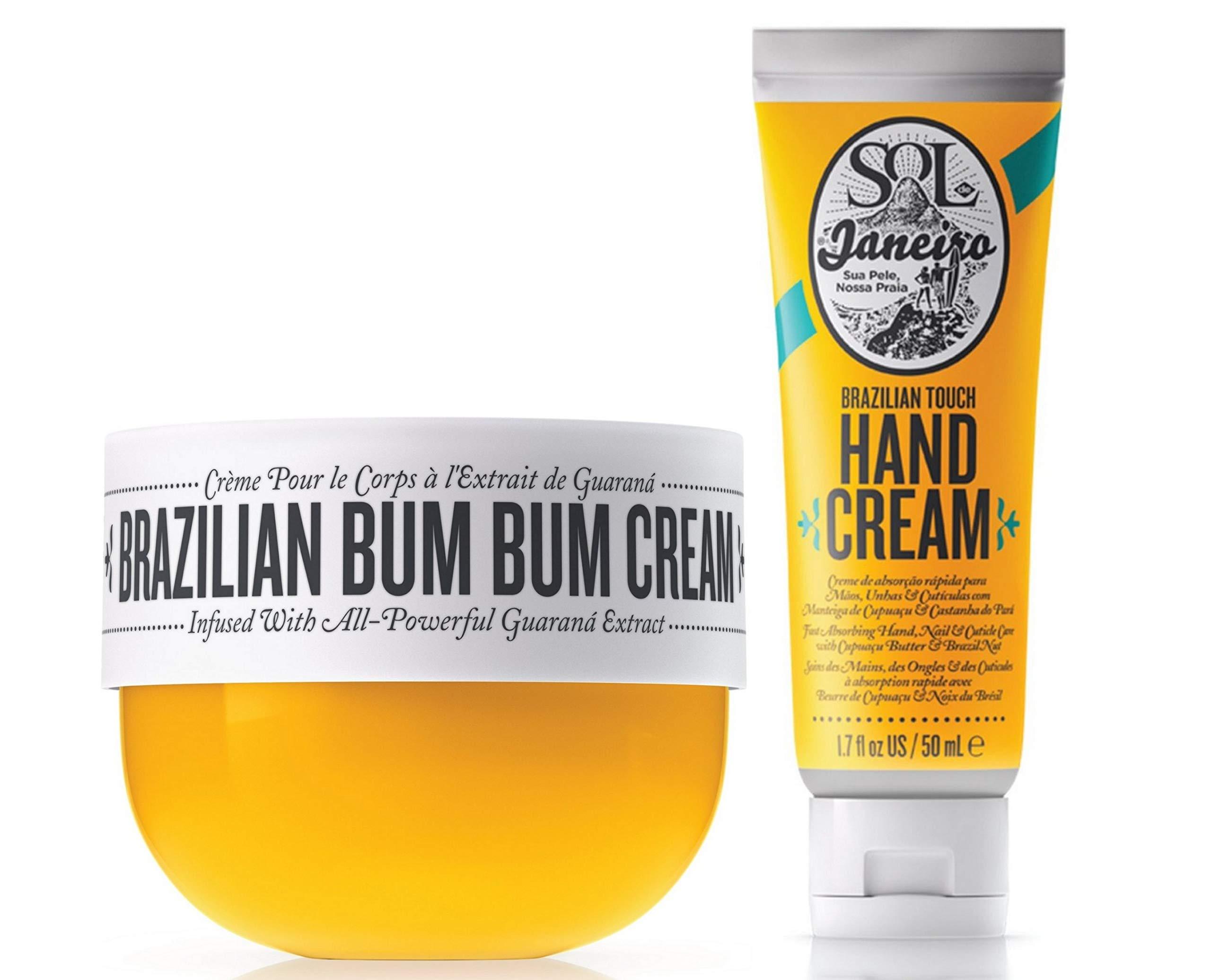 Sol de Janeiro Brazilian Bum Bum Cream (75ml) and Brazilian Touch Hand Cream 1.7 oz / 50 ml - Featuring a Gute Carrying Cosmetic Bag (3 piece bundle)