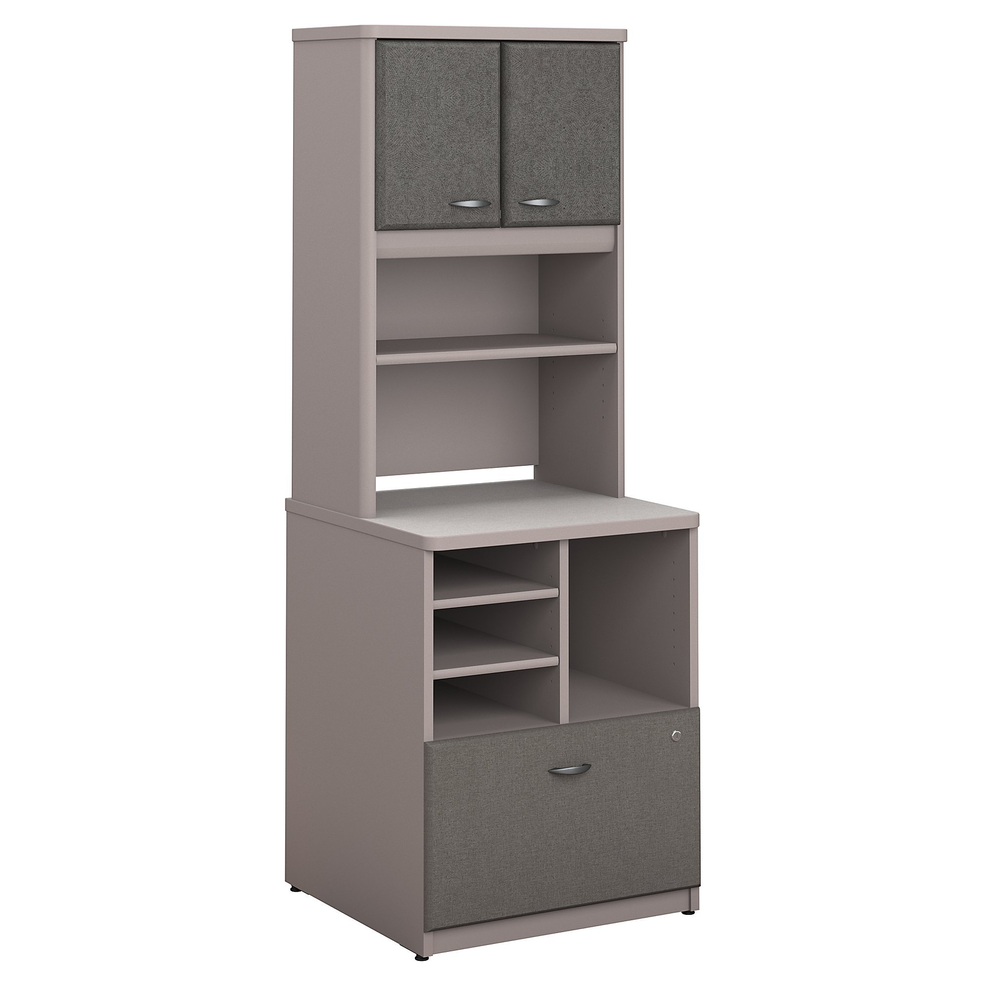 Bush Business Furniture Series A 24W Piler Filer Cabinet with Hutch in Pewter and White Spectrum by Bush Business Furniture