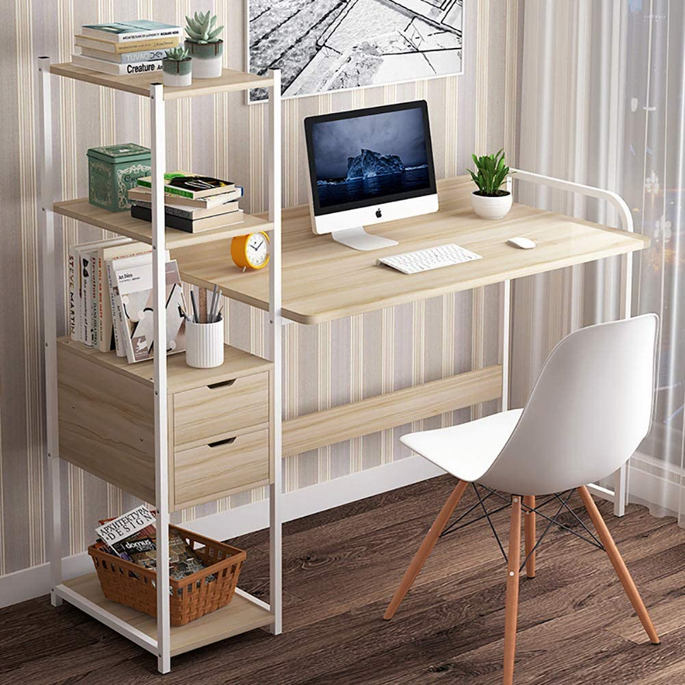 TOPYL Computer Desk with 2 Drawers,Modern Writing Desk with 4 Tier Bookshelves,Pc Laptop Sturdy Office Desk Workstation for Home