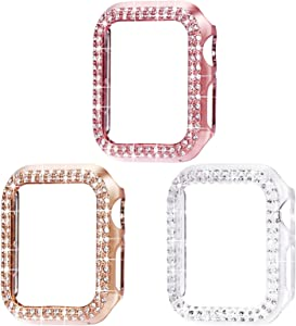 Surace 44mm Case Compatible with Apple Watch Case, Bling Frame Protective Case Screen Protector Compatible with Apple Watch Series 6/5/4 44mm for iWatch SE (3 Packs, Rose Gold/Pink Gold/Clear -44mm