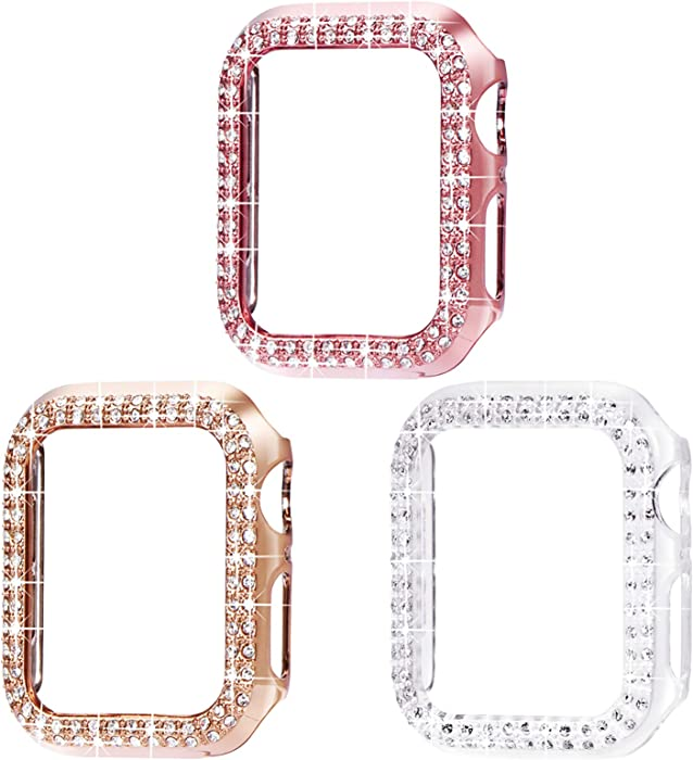 Surace 38mm Case Compatible for Apple Watch Case, Bling Frame Protective Case Compatible for iWatch Series 3/2/1 (3 Packs, Rose Gold/Pink Gold/Clear-38mm